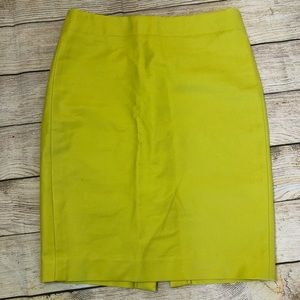 J Crew No 2 Pencil Skirt Citron Sz 6
